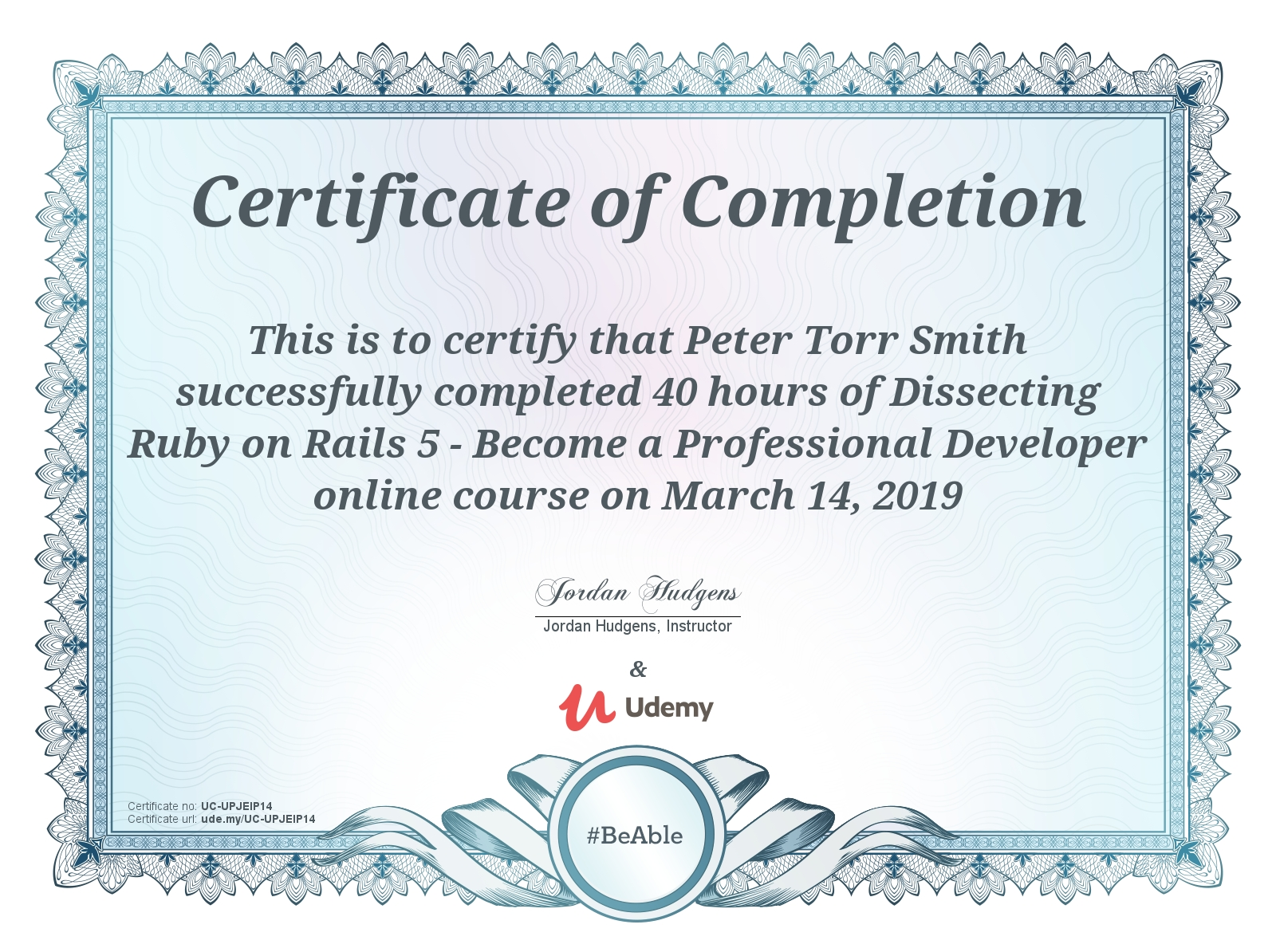 Certificate for Completing Udemy Dissecting Rails 5 Professional course